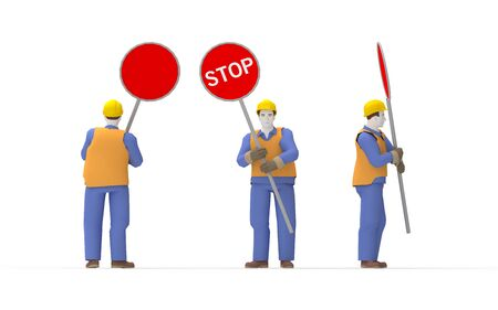 3d rendering of a man holding a stop sign isolated in white background. Foto de archivo - 137490794