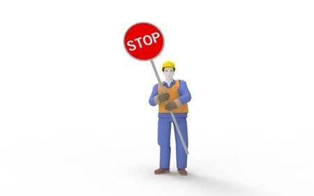 3d rendering of a man holding a stop sign isolated in white background.