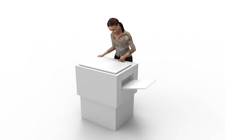 3d rendering of a woman at a copier isolated in white background.