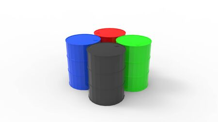 3d rendering of multiple oil barrels isolated in a studio background.