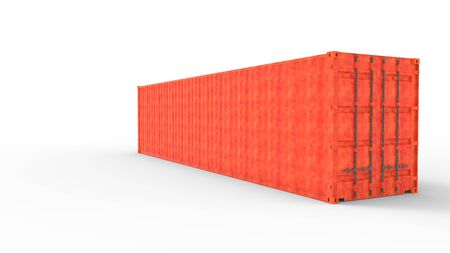 3d rendering of a sea transport container isolated a white background. Banco de Imagens