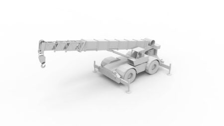 3d rendering of a crane isolated on a white studio background