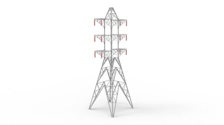 3d rendering of a electricity tower isolated on a white background. Banco de Imagens