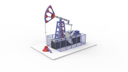 3d rendering of an oil pump isolated on white background.