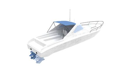 3d rendering of a pleasure boat isolated on a white background Banco de Imagens