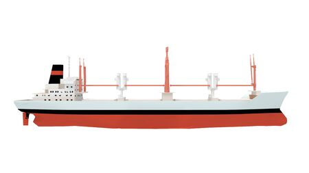 3d rendering of a large cargo container ship isolated on a white background