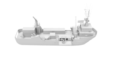 3d rendering of a large vessel isolated on a white background.