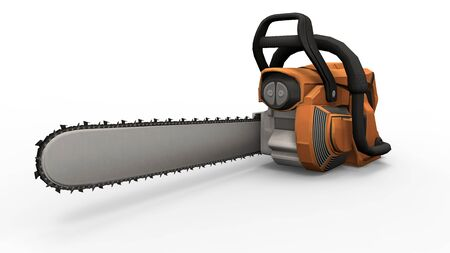 3d rendering of an orange chainsaw isolated on a white studio background
