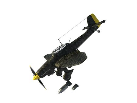 3D rendering of a world war two german dive bomber in flight diving 写真素材