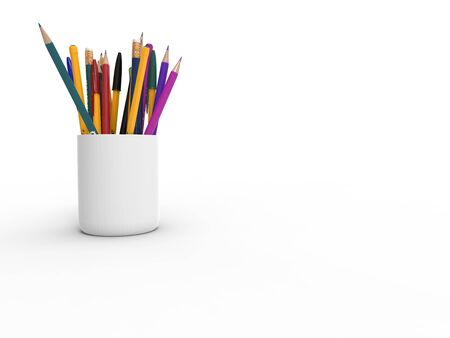 3D rednering of a cups filled with pencils isolated in white background.