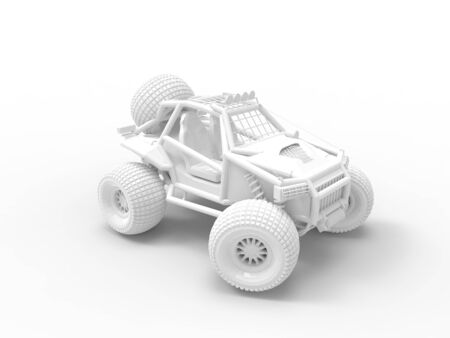 3D rendering of a 4x4 offroad vehicle with big wheels isolated.
