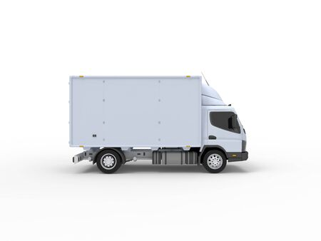 3D rendering of a small white truck isolated on white empty space studio background