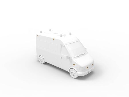 3D rendering of a white ambulance isolated in a white studio space background. Zdjęcie Seryjne