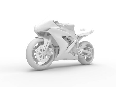 3D rendering of a white motorcycle isolated in a white background.