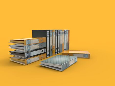 3D rendering of some archive folders isolated in studio background.