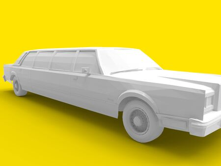 3D rendering of an american limousine isolated on yellow background Zdjęcie Seryjne