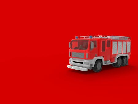 3D rendering of a fire truck isolated in a empty space background Zdjęcie Seryjne