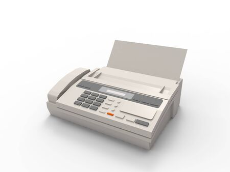 3D rendering of a fax isolated in a white studio background