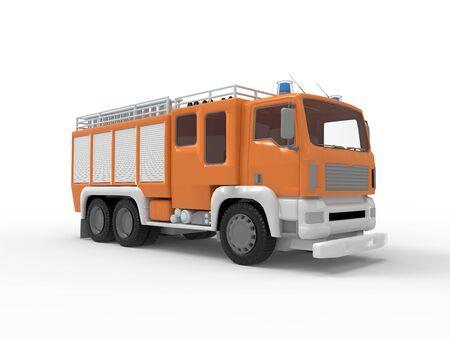 3D-Rendering eines Feuerwehrautos in einem leeren Raumhintergrund isoliert