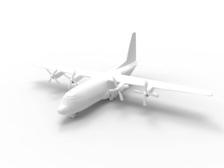 3D rendering of a propellor transport vehicle isolated on an white empty space