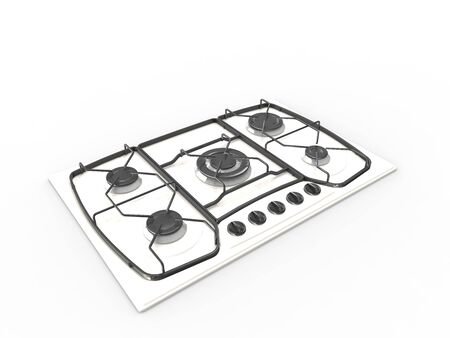 3D rendering of a cooking stove top isolated on a white background