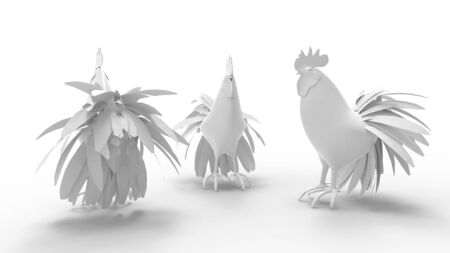 3d rendering of a rooster isolated on a white empty space background. Zdjęcie Seryjne