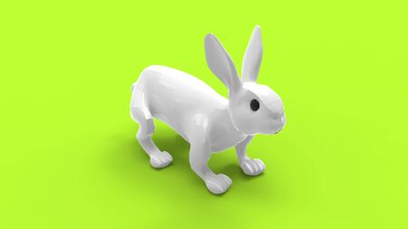 3D rendering of a bunny rabbit isolated in empty space.