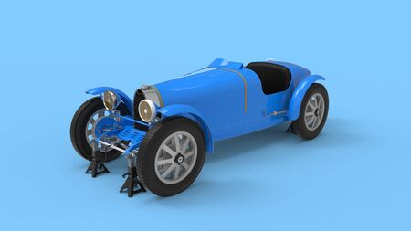 3d rendering of computer generated vintage sports car blue isolated in empty space Stock Photo