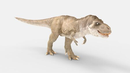 3D rendering of a T rex dinosaur isolated on white background empty space