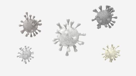 3D rendering of a Coronavirus Covid-19 cell a health risk outbreak influenza or flu dangerous pandemic medical health risk concept disease on empty background isolated