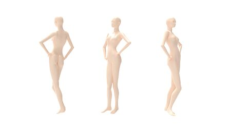 3D rendering of a mannequin person fashion model isolated multiple views