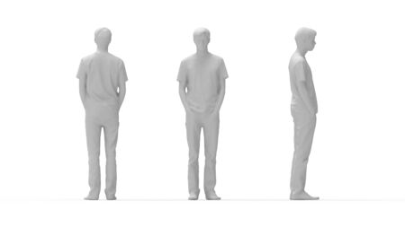 3D rendering of a man standing multiple views side front back casual isolated