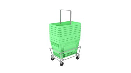 3D rendering of plastic shopping basket trolley stacked isolated green on white background