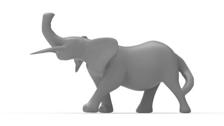 3D rendering of an elephant tusk grey abstract model shape isolated