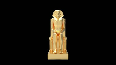 3D rendering of a golden pharao statue ornament isolated