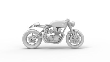 3D rendering of a cafe racer isolated motorcycle bike two wheels vintage