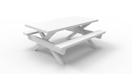 3D rendering of a picknick park bench seat table white isolated Standard-Bild