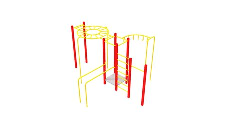 3D rendering of a playground metal tube object play house park