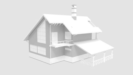 3D rendering of a house residential place household architecture isolated Standard-Bild