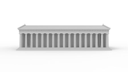 3D rendering of the Akropolis temple building column architecture