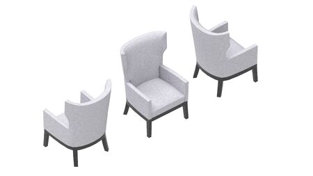 3D rendering of a high chair armchair interior product seat isolated in studio background Standard-Bild