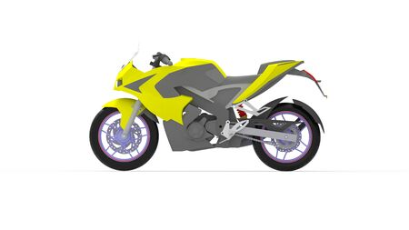 3D rendering of a motorcycle bike moto isolated on white studio background white