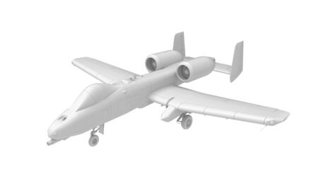 3D rendering of a warthog gun ship fighter airplane bomber isolated on white background