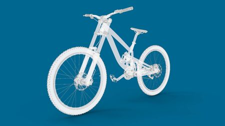 3D rendering of a mountain bike bicycle downhill wheel cycling cross isolated
