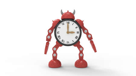 3D rendering of a red robot clock doll figure scifi cute isolated