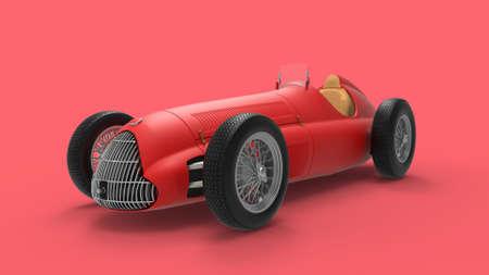 3D rendering of a classic vintage race car ports car model in red studio Zdjęcie Seryjne