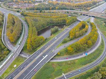Aerial view of high way intersection crossing