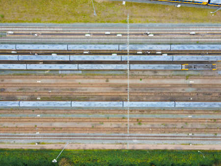 Aerial top down view of rail roads train view drone infrastructure transportation