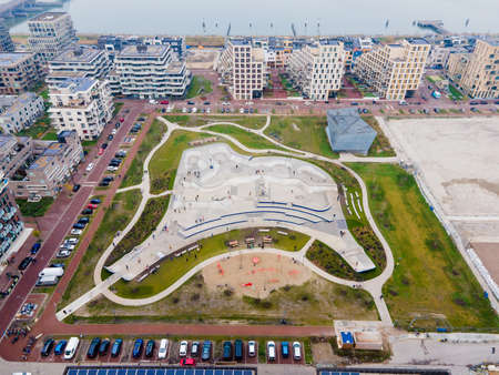 Aerial drone view on top of europe largest skatepark in The Netherlands Zeeburgereiland