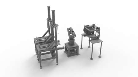 3D rendering of an assembly line machine with a robotic arm isolated on a white background in a studio background.